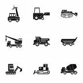 Construction Heavy Vehicle Icon Set. Simple Set Of 9 Construction Heavy Vehicle Icons For Web Isolat poster