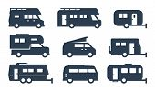 Rv Cars, Recreational Vehicles, Camper Vans Icons poster