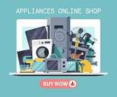 Home Appliances Poster Flat Illustration Vector. Modern Technology House Machine Equipment. Domestic poster
