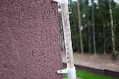 Thermometer On A Cold Day Or Hot Day Measures The Temperature. Analog Thermometer. Close Up poster