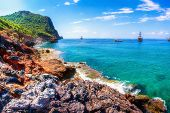 Sea Coast Landscape In Alanya, Turkey. Scenic Seascape Of Turkish Beach In Alanya On Clear Summer Da poster