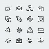 Internet, Computer Network Vecor Icon Set In Thin Line Style poster