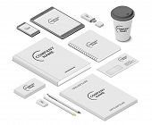 Stationery And Accessories Mock-up With Template Logo. Branding Design. Mobile App, Flash Drive, Boo poster