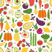 Flat Vegetables Seamless Pattern. Hand Drawn Colorful Fruits, Organic Natural Vegetarian Food. Vecto poster