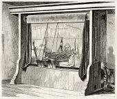 stock photo of gobelin  - Loom in Gobelins Manufactory old illustration - JPG
