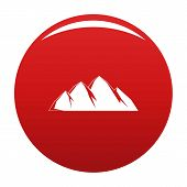 Large Mountain Icon. Simple Illustration Of Large Mountain Icon For Any Design Red poster