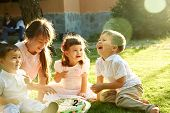 Happy Funny Playful Children Outdoors In Summer poster