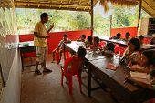 KO CHANG, THAILAND - JANUARY 6: Unidentified children in lesson at school by project Cambodian Kids