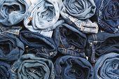 Blue Jean Background .blue Denim Jeans Texture. Jeans Background. Blue Torn Denim Jeans Texture.clas poster