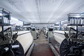 Interior Of Textile Factory With Automated Machinery.concept Of Industry And Technology poster