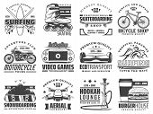 Hobby Activities, Recreation And Sport Vector Icons. Surfing And Skating, Skateboarding And Bicycle, poster
