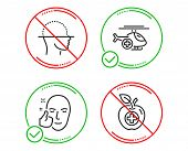 Do Or Stop. Face Scanning, Medical Helicopter And Healthy Face Icons Simple Set. Medical Food Sign.  poster