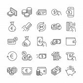 Money Wallet Line Icons. Set Of Cash, Credit Card And Coins Icons. Banking, Currency Exchange And Ca poster