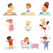 Naughty And Obedient Kids Set, Cute Little Well Bred Kids And Hooligans Vector Illustration poster