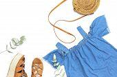 Stylish Trendy Feminine Summer Clothing Denim Dress Sundress, Sandals Round Rattan Bag Sprig Eucalyp poster