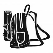 Large Backpack Side Icon. Simple Illustration Of Large Backpack Side Vector Icon For Web Design Isol poster