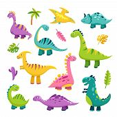 Cute Dino. Cartoon Baby Dinosaur Stegosaurus Dragon Kids Prehistoric Wild Animals Brontosaurus Isola poster