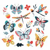 Butterfly On Flowers. Insect Dragonflies Butterflies Moth And Flower Hand Drawn, Sketch Vector Isola poster