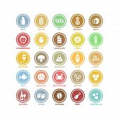 Food Ingredients Vector White Circle Signs In Colorful Labels. Food Ingredient Products Symbols Stic poster