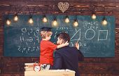 Favourite Teacher Concept. Teacher With Beard, Father Teaches Little Son In Classroom, Chalkboard On poster