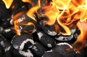 stock photo of flame-grilled  - charcoals engulfed in flames - JPG