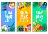 Colorful Summer Vertical Banner Set With Bright Vivid Gradient Background And Tropical Elements Like poster