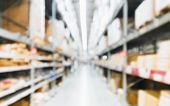 Blurred Background Image Of Shelf In Warehouse Or Storehouse, Inventory Product Stock For Logistic B poster