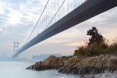 picture of tsing ma bridge  - bridge at sunset moment - JPG