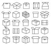 Box Packaging Line Icons. Package Icon Set, Paper Boxes, Outline Packages, Crate Symbols And Mail Tr poster