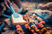 Close Up Bread On Grilling Barbecue In Campground At Summer Camp Travel, Skewers Of Pork And Beef Fi poster