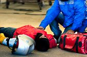 First Aid Training In The Factory Industrial. Welder Accident In Works And Fainting In A Factory Ind poster