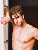 Sexy Attractive Macho Tousled Hair Coming Out Through Bedroom Door. Guy Attractive Lover Posing Sedu poster
