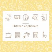 Set Of Kitchen Appliances Icons In Line Style Isolated On The White Background. Well Tracked Items O poster