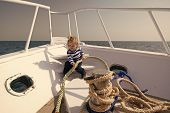 Sea Trip Concept. Small Kid Enjoy Sea Trip On Boat. Boy Sailor On Sea Trip. Sea Trip And Cruise. Let poster