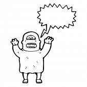 stock photo of ogre  - ogre with speech bubble cartoon - JPG