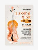 Classical Music Festival Poster Template With Grungy Background And Abstract Watercolor Viol - Vecto poster