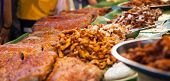 Varieties Of Traditional Thai Asian Delicious Street Food, Crispy Delicious Barbecued Pork Belly In  poster