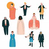 Opera Singers Set, Male And Female Singers In Elegant Clothing Performing On Stage Vector Illustrati poster