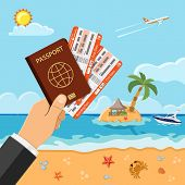 Vacation, Tourism, Summer Concept With Flat Icons For Web Site, Advertising Like Hand With Passport  poster