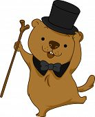 pic of groundhog day  - Illustration of a Groundhog Dancing Happily - JPG