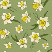 Vector Seamless Pattern Of Hand Drawn Sketch Narcissus Flowers. Endless Botany Texture For Fabrics,  poster