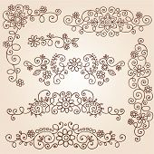 Henna Paisley Vines and Flowers Mehndi Tattoo Doodles Abstract Floral Vector Illustration Design Ele