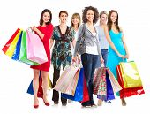 stock photo of boxing day  - Group of  woman with shopping bags - JPG