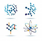 Set Of Abstract Icons, Chemical And Social Networks Concept