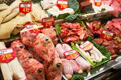 stock photo of dick  - Sheep offal in meat market - JPG