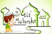 picture of dua  - vector illustration of muslim offering namaaz for Eid - JPG
