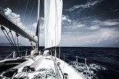 stock photo of boat  - Luxury sail boat in the sea at evening - JPG