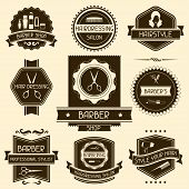pic of barber  - Set of barber shop badges in retro style - JPG