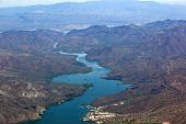 stock photo of apache  - Aerial view of Apache Lake in the foreground and Roosevelt Lake in the distance - JPG