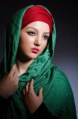 picture of niqab  - Muslim woman with headscarf in fashion concept - JPG